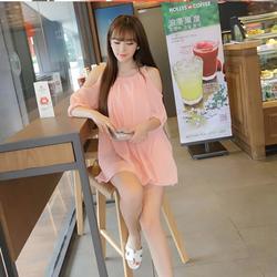 Đầm Suông Tay Lỡ Xẻ Vai Xinh