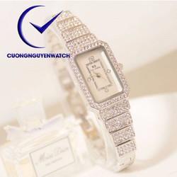 Đồng hồ nữ bs chính hãng mặt vuông đính đá sang trọng BS06