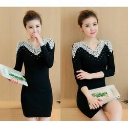 Đầm len đính đá cao cấp - Hàng nhập Quảng Châu