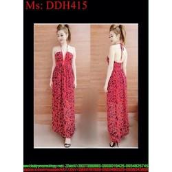 Đầm maxi dự tiệc cúp ngực phối dây sành điệu xinh đẹp DDH415
