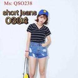 Quần short jean nữ xanh đậm rách ô thời trang QSO238