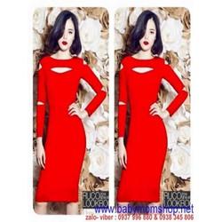 Đầm thun dài tay khoét ô sành điệu màu đỏ nổi bật DTT84