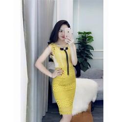 Đầm body ren vàng nơ y hình