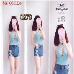 Quần short jean nữ lưng cao xước nhẹ phong cách cá tính QSO236