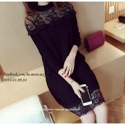 Đầm len dệt kim viền ren