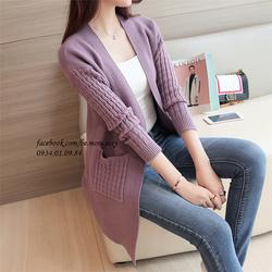 Áo khoác len dệt kim len mịn Hàn Quốc