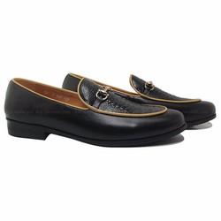 Giày lười nam thời trang màu đen viền vàng 2016 mã GL149D