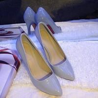 Hình thực . Giày laboutin da bóng 10cm