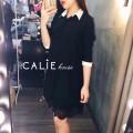 Đầm suông sơ mi phối ren Miko Shirt Dress