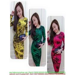 Đầm thun dài tay họa tiết màu loang nổi bật DTT83