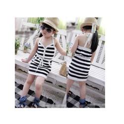 Đầm sọc trắng đen côt dây dễ thương cho bé gái 13-28kg