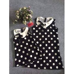 Đầm Chấm Bi Cổ Cách điệu cho mẹ và bé HGS 296