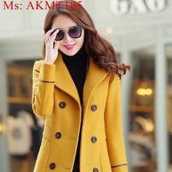 Áo khoác dạ thu đông dài tay cổ vest sang trọng nổi bật AKMT195