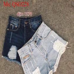 Quần short jean nữ kẻ rách sành điệu cá tính QSO228
