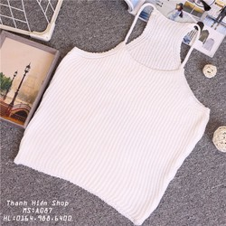 Áo yếm len croptop A087-trắng