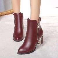 Giày Boot nữ da cổ cao gót vuông hàng nhập - LN627