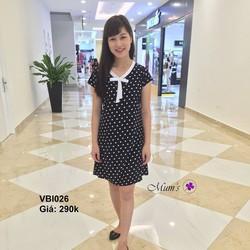 Đầm bi đen nơ trắng