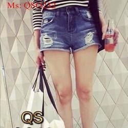 Quần short jean nữ lưng cao rách sành điệu QSO232