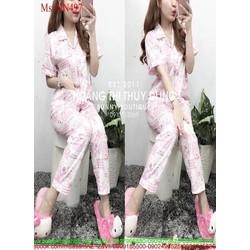Đồ bộ nữ mặc nhà pyjama ngắn tay hình gấu dễ thương NN497