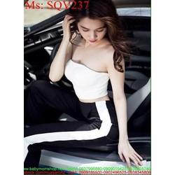 Sét áo kiểu ống trắng phốu quần ống suông sọc màu sành điệu SQV237