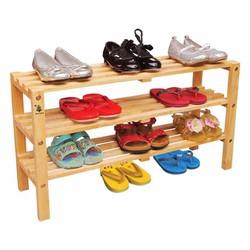Kệ giày trẻ em 3 tầng màu tự nhiên gỗ Đức Thành 49371K