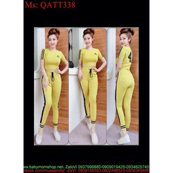 Sét bộ thể thao nữ số 41 phối sọc viền trẻ trung năng động QATT338