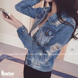 Áo khoác bò jeans rách cá tính bụi bặm - 5078 - Hàng Nhập