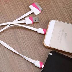 Cáp Sạc 4 Đầu V3, Iphone 4, 5, Samsung Dây Dẹp Nhiều Màu