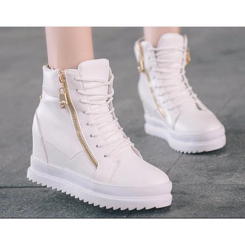 Giày boot nhung nữ cổ cao đế vuông 7cm giày bốt nữ màu đen kiểu buộc dây có khóa kéo tiện dụng giày boot mùa đông lót vải ấm chân cổ cao qua mắc cá tr