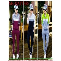 Sét thể thao nữ áo khoác dài tay ghép màu phối quần dài QATT365