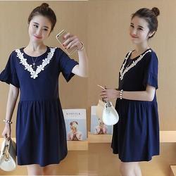 Đầm Oversize Cổ Phối Ren Hoa