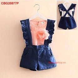 Set yếm jean phối áo hoa ren đính hoa cực yêu _CBG20877