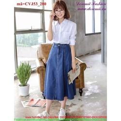 Chân váy Jean dài 1 nút khóa kéo nữ tính CVJ5