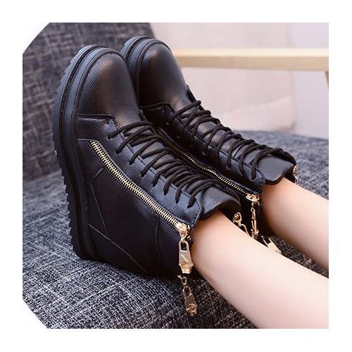 Giày boot nhung nữ cổ cao đế vuông 7cm giày bốt nữ màu đen kiểu buộc dây có khóa kéo tiện dụng giày boot mùa đông lót vải ấm chân cổ cao qua mắc cá đe