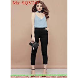 Sét áo kiểu 2 dây phối quần lửng sành điệu thời trang SQV247