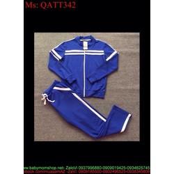 Bộ thể thao nữ dài tay áo khoác có nón phối màu nổi bật QATT340