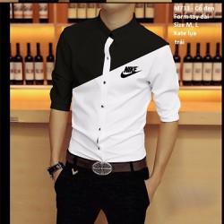 áo  sơ mi nam phối trắng đen