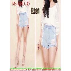 Quần short jean nữ lưng cao rách ô thời trang sành điệu QSO245