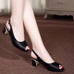 Giày gót vuông hở mũi quai cài hậu - LN646