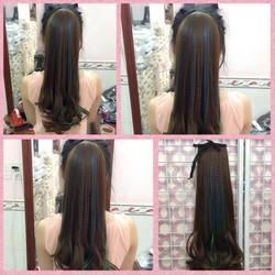 tóc cột line xanh