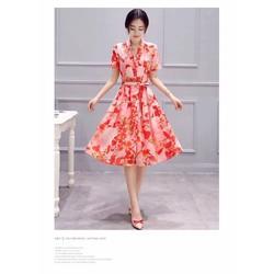Đầm xòe in hoa cao cấp T270908