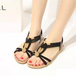 Giày Sandal Dạo Phố Hạt Hoa Văn