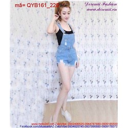 Quần yếm jean rách phong cách bụi bặm cá tính QYB161