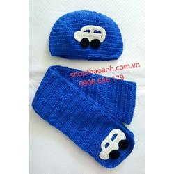 Set nón và khăn choàng len bé trai 4 tháng - 6 tháng