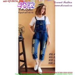 Quần yếm Jean dài sắn lai rách 2 bên phong cách bụi bặm QYB156