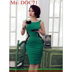 Đầm body cổ thuyền phối viền eo hoa sành điệu thời trang DOC71