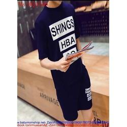 Bộ thể thao nam áo ngắn tay và quần short in chữ phong cách BQAN46