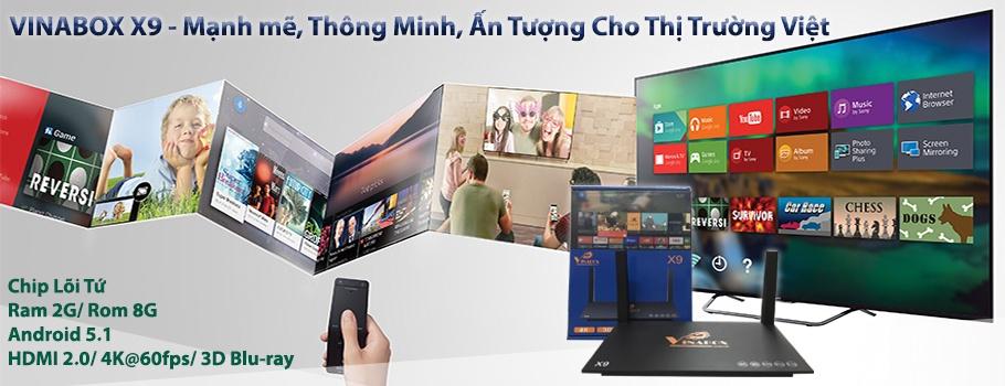 Android Tivi Box Vinabox X9- RAM 2GB + Tặng 1 chuột bay KM800 1