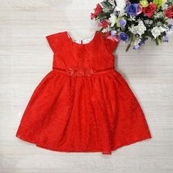 [HÀNG THIẾT KẾ] - Đầm CC ren đỏ đính nơ eo