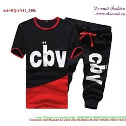 Bộ đồ thể thao nam CBV quần lửng áo phối màu sành điệu BQAN41